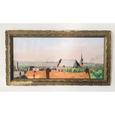 """Louis Greuze (mons, 1863-1950). """"landscape Of Mons"""". 1890. Pastel."""
