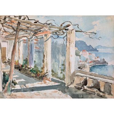 "Léon Philippet (1843-1906). "" Amalfi, 1876"". Ecole belge."