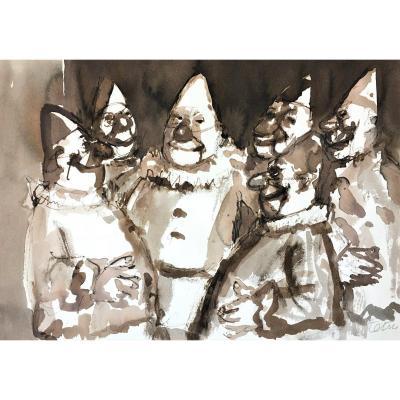 "Roger Tetsu (1913-2008). Lavis. ""Clowns"". Années 50."