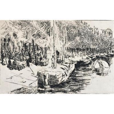 """Max Liebermann (1847-1935). """" Canal à Amsterdam"""". 1907. Eau-forte."""