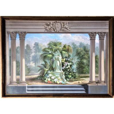 """Theodoor Livinus Vermeulen (1823-1893). """" Projet architectural paysager, vierge à l'enfant"""". Vers 1860."""