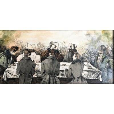 """Augustin  CARLONE (1812-1873), attribué à. """" Scène galante"""". Vers 1830-1840."""