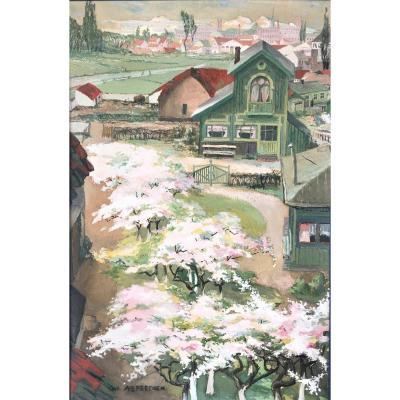 """Achiel Vereecken (ghent 1899-1933). """"apple Trees In Bloom"""". Around 1920."""