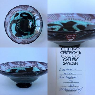 Eva Englund (1937-1998). Glass. Orrefors. Sweden.