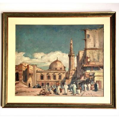 """Vaclav Prihoda (Prague 1888-1941). Orientalisme. """" Le Caire""""."""