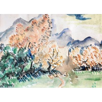 """Hermann Paul (1864-1940). """"Montagne Ste Victoire"""". Vers 1900."""