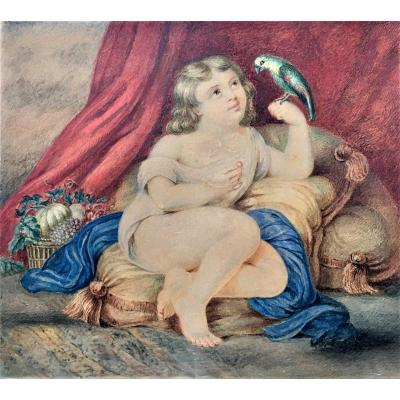 Enfant nourrissant un perroquet. Vers 1840. Aquarelle.
