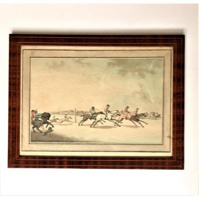 """Thomas Rowlandson (1756-1827). """" Horse racing"""" .  Eau-forte aquarellée. Edité en 1786 par Elizabeth Jackson."""