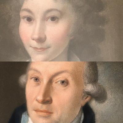 Paire de portraits , homme et femme  XVIIIe. Encadrements Claude de Muzac.