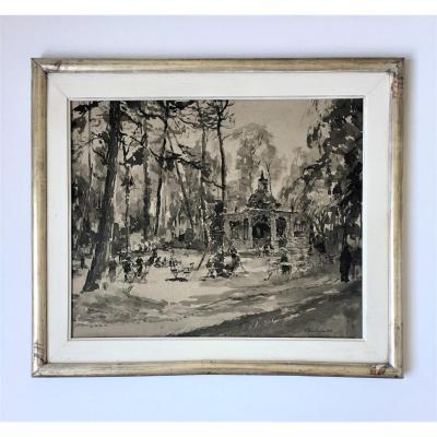 """Charles Londot (1886-1968). """" Pavillon Louis XV, Parc du Wolvendael"""". Années 20."""