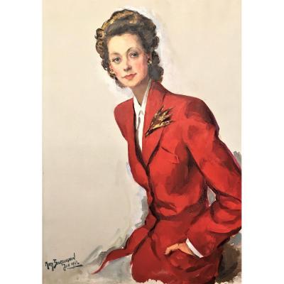 "Mady Bourguignon ( Arlon,1901-Paris,1983). "" Elégante"". 1942."