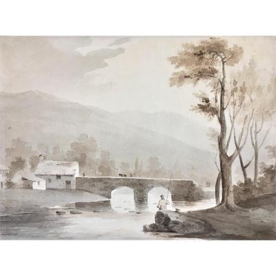 """Samuel Jackson (Bristol,1794- Clifton 1869). """" Paysage au pêcheur"""". Aquarelle."""