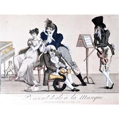 """Gravure satirique. """" Pensent- t- ils à la musique"""". Vers 1840."""