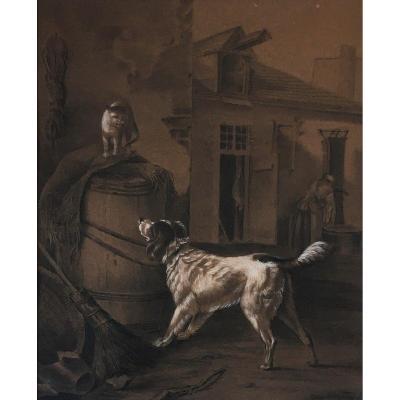 "Jan Stobbaerts (Anvers, 1838- Bruxelles, 1914). "" Chien et chat"".   XIXe."