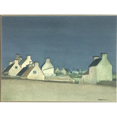 """Léon Arrotin ( Bruxelles, 1912- Jumet, 1978). """" Village en Bretagne"""". Vers 1950."""
