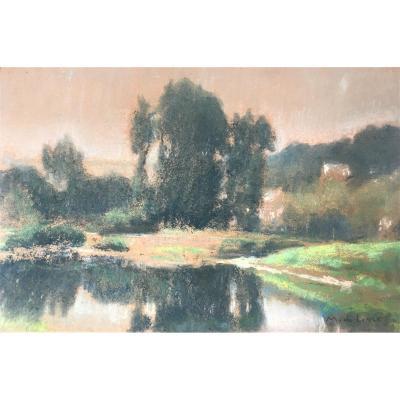 """Marcel De Lincé (Oupeye, 1886-Seraing, 1957). """"Paysage"""". Années 20. Impressionnisme."""