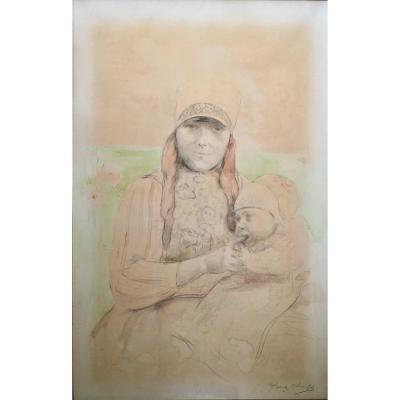 """Frantz Charlet (1862-1928). """" Jeune fille de l'île de Marken """". Fin XIXe."""