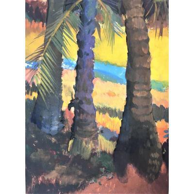 """Govind Madhav Solegaonkar (1912-1986). """" Palmiers"""". Ecole indienne."""