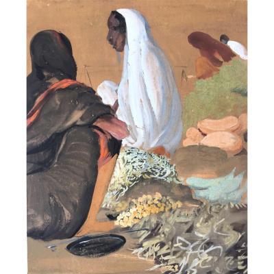 "Govind Madhav Solegaonkar (1912-1986). "" Scène de marché"". Ecole indienne."