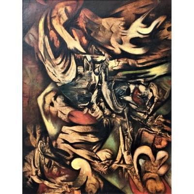 """Urbain Herregodts (1935-1986). """" De l'un à l'autre"""". Abstraction lyrique. 1970."""