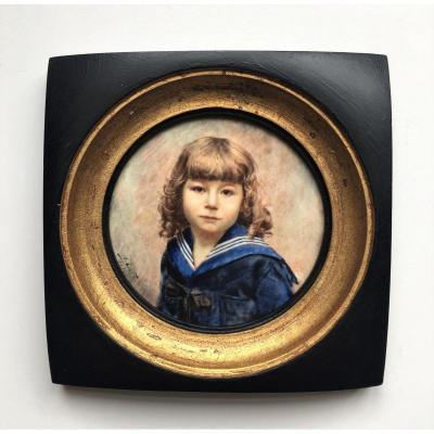 "Albert Colfs (1898-?) Miniature. ""portrait Of A Child"". 1920."