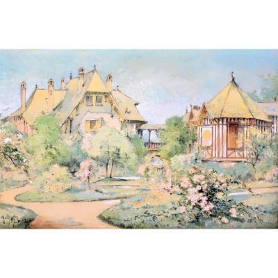 """Marius Hubert-Robert (Paris , 1885- Nice, 1966). """" Maisons en Normandie"""". 1918."""