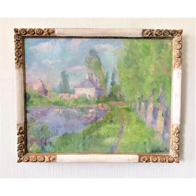 """Paul Jean Martel (1897-1944). """" Maison au bord de l'eau"""". Vers 1920. Impressionnisme."""