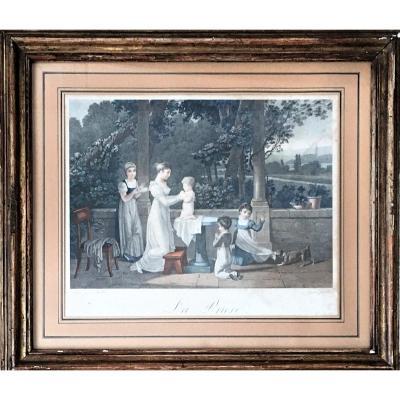 """Jean-Baptiste Mallet (d'après). """" La prière"""".  eau-forte couleur. Gravé par Prot. XIXe."""