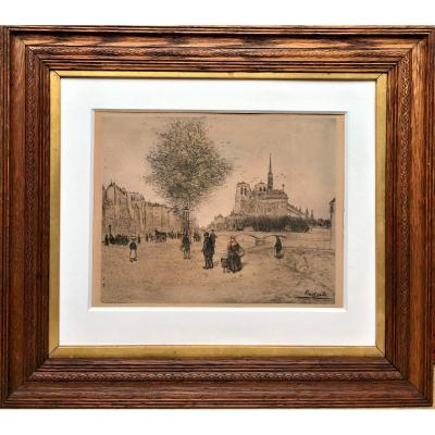 "Jean-françois Raffaelli (1850-1924). "" Notre Dame Of Paris"". Around 1904."