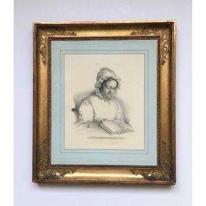 """Dessin . """"Portrait de Madame Jules Delehaye"""" par Mélanie Mestdagh. 1832. Paris."""
