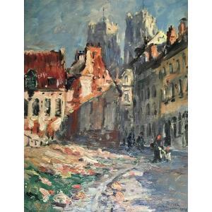 """Armand Jamar (1870-1946). """" Vue du quartier de la cathedrale St Michel et Gudule"""". 1909."""
