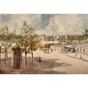 """Louis Marie Homberg ( XIXe- 1926). """"Vue de Paris , colonne Morris"""", début XXe"""