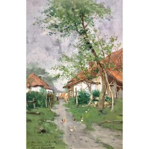 """Paul Hermanus ( Bruxelles, 1859-1911). """" Troupeau à la ferme""""."""