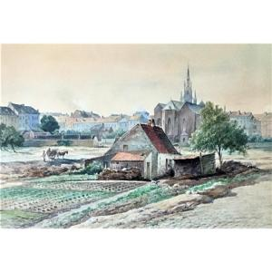 """Charles Ligny (1812-1889). """"ixelles, View Of The St Boniface District In 1877""""."""