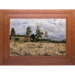 "Théodore Baron ( Bruxelles,1840-St Servais, 1899).  "" Paysage d'Ardenne""."