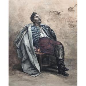 """Jacques de Lalaing (1858-1917). Etude pour le tableau """"Les prisonniers de guerre"""". 1883."""