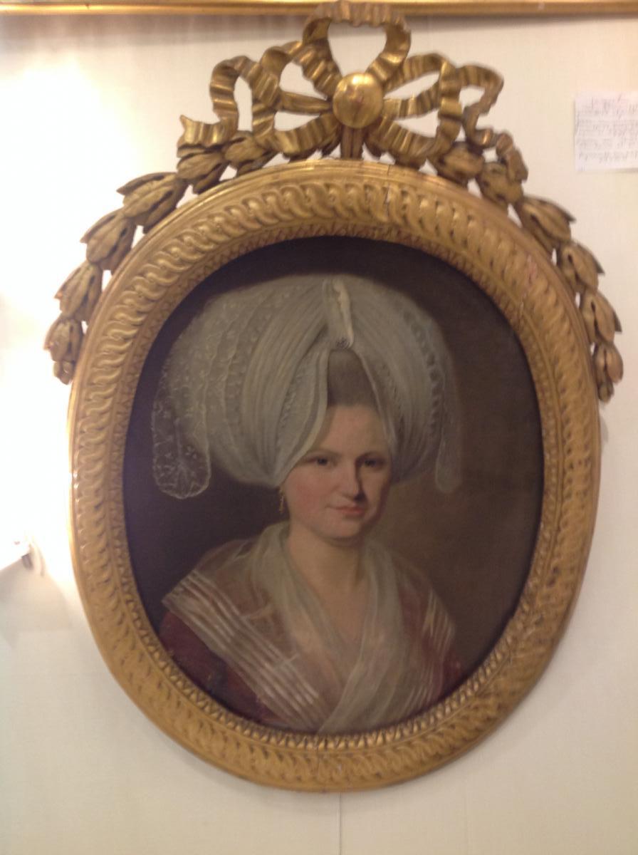 Portrait d'Une Jeune Femme  d'époque 18 Eme Siècle Ovale Dans Son Cadre d'Origine -photo-2