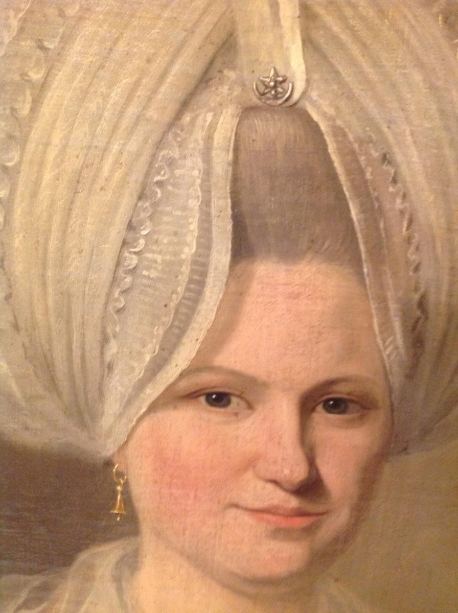 Portrait d'Une Jeune Femme  d'époque 18 Eme Siècle Ovale Dans Son Cadre d'Origine -photo-3