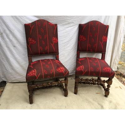 Pair Of Chairs Louis XIII In Walnut