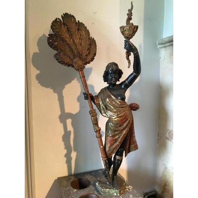 Nubien En Bois Polyckome 19eme Italien