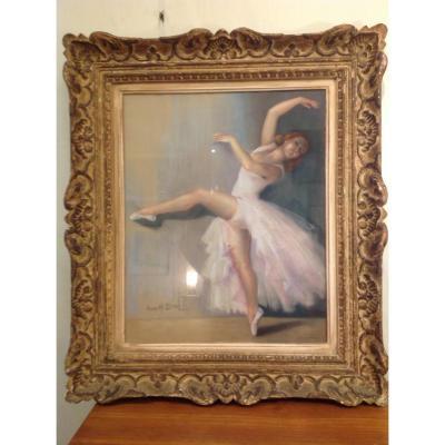 Grand Pastel Représentant Une Danseuse En Tutu Signé Anne H. Brun