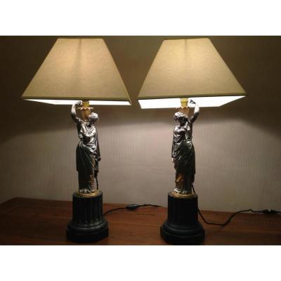 Paire De Lampes En Bronze Argenté d'époque Napoléon III