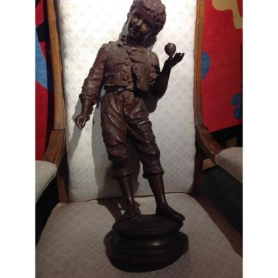 Brown Patina Bronze, Signed Charles Anfrie Representing The Child Playing At La Toupie.