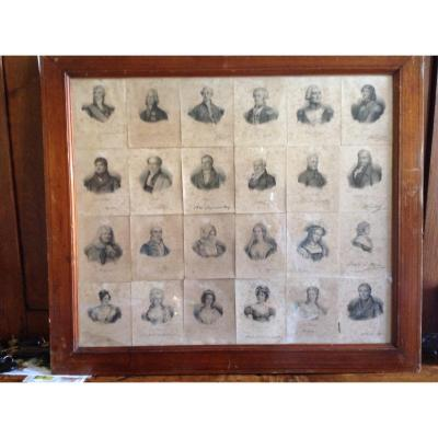 Set Of 24 Lithographs Of Famous Characters By François Delpech Around 1820