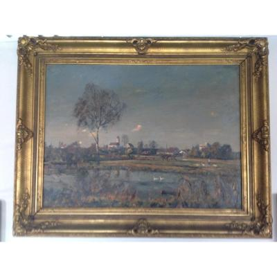 Large Oil On Canvas Representing An Animated Landscape In Its Original Frame