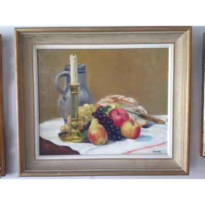 Oil On Canvas Representing A Still Life With Fruits In A Montparnasse Frame