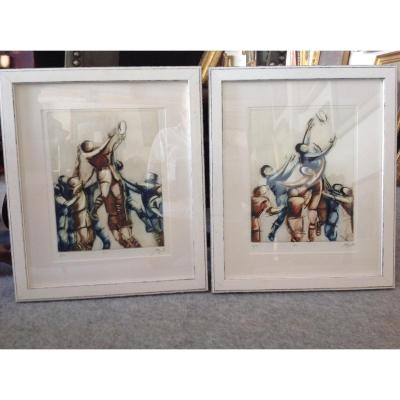 Pair Of Lithographs Representing An Allegory In Rugby Signed A. Bar