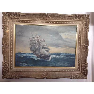 Oil On Canvas Representing A Ship In The Storm In Its Original Frame