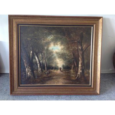 Oil On Canvas Representing An Animated Undergrowth In Its Original Frame