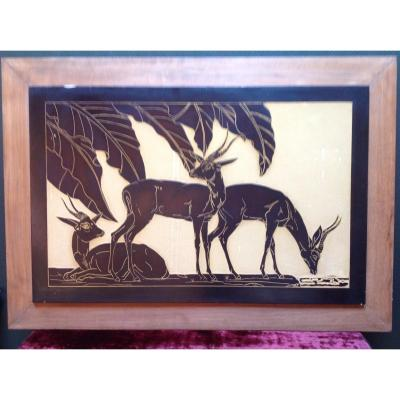 Large Lacquer Panel With Antelope Decor Art Deco Period